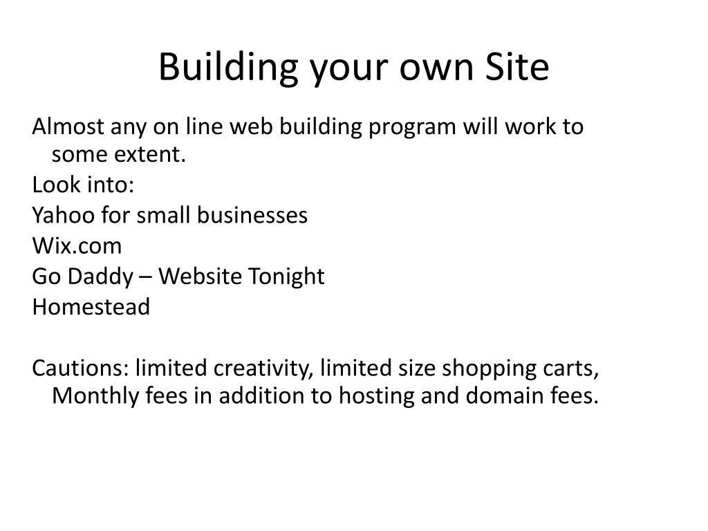 Building your own Site