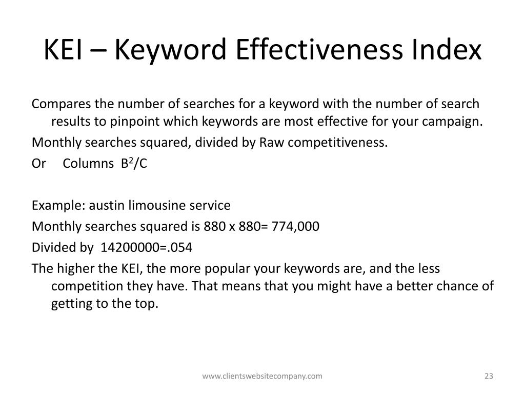 KEI – Keyword Effectiveness Index
