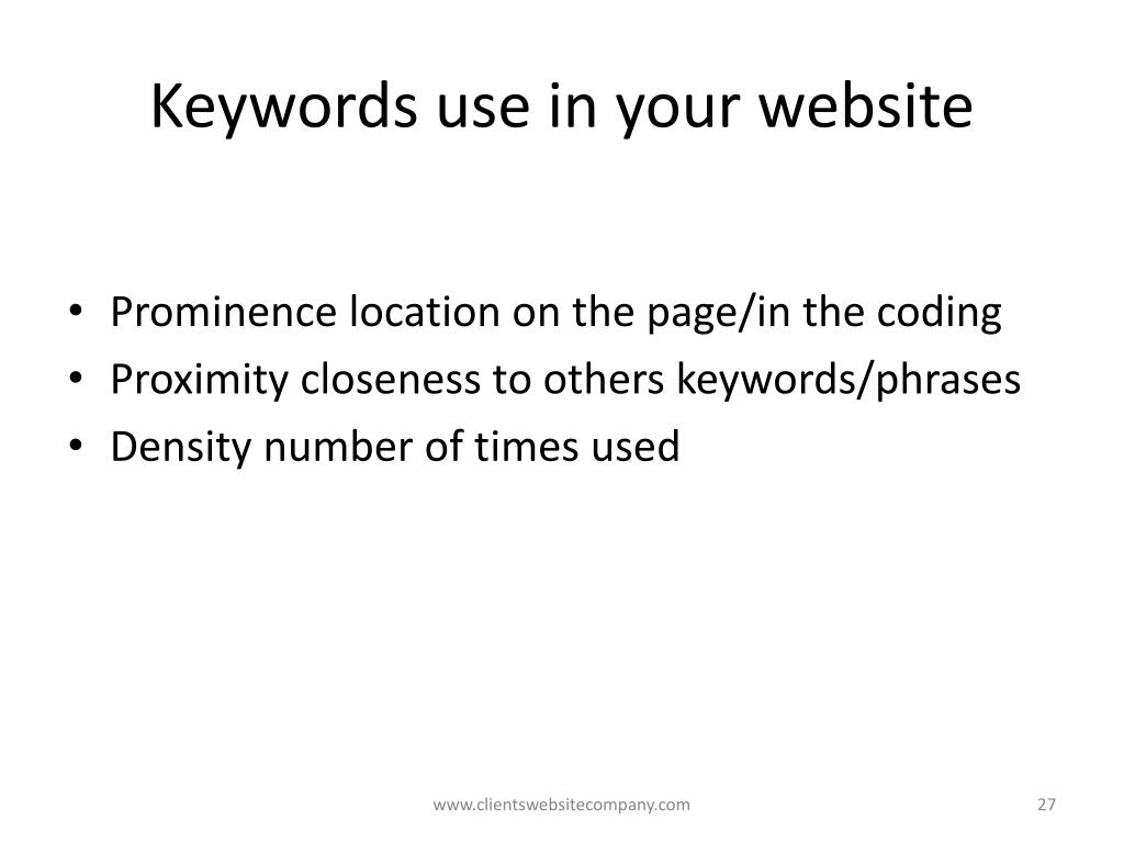 Keywords use in your website