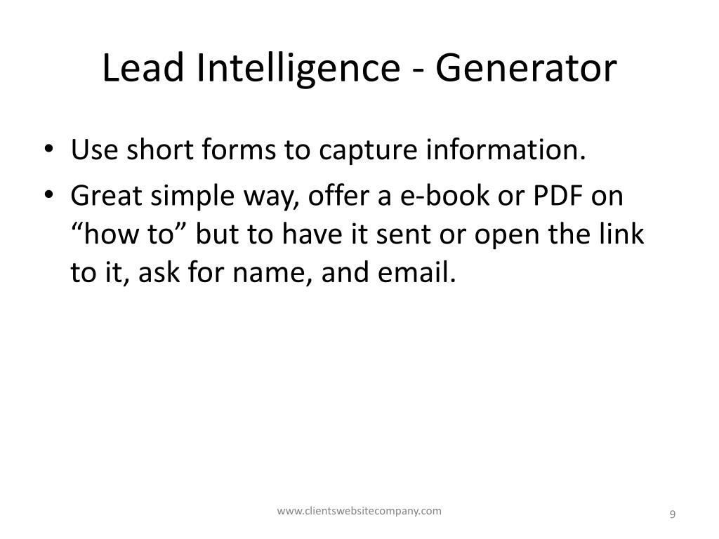 Lead Intelligence - Generator