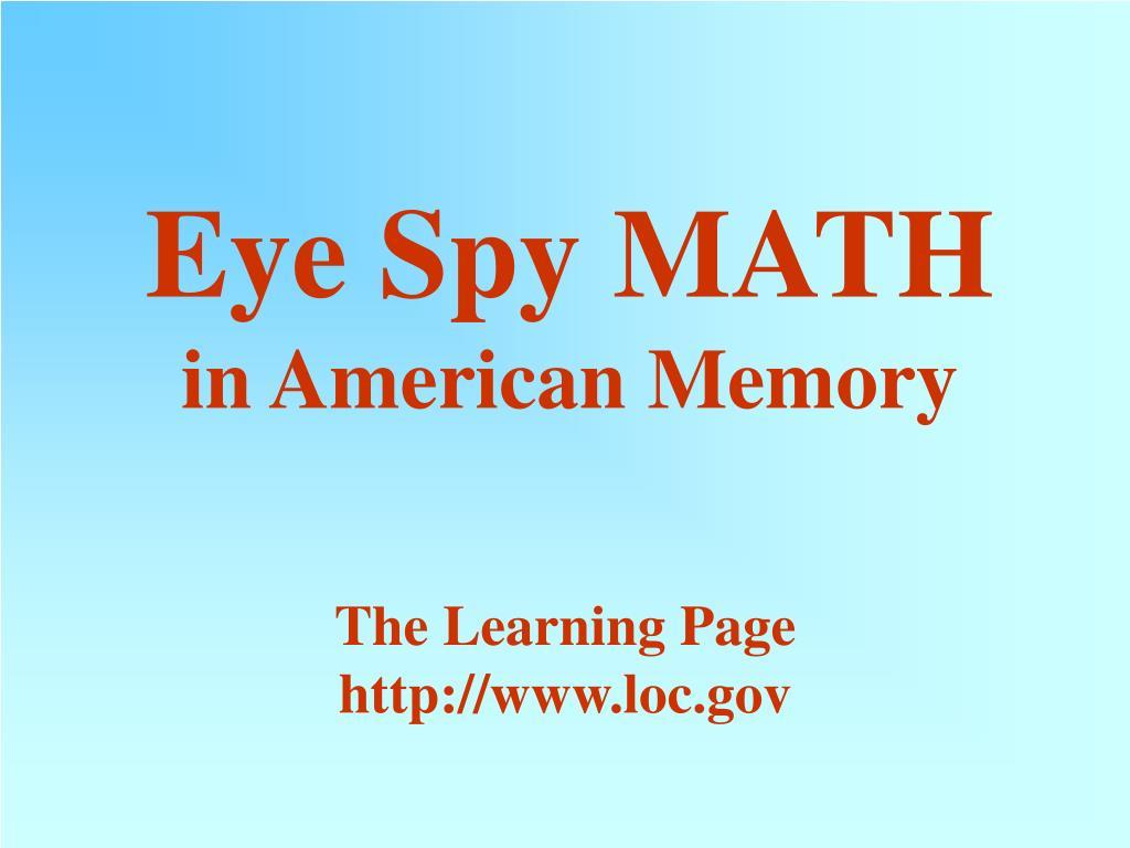 eye spy math in american memory l.