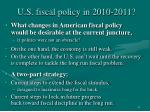 u s fiscal policy in 2010 2011