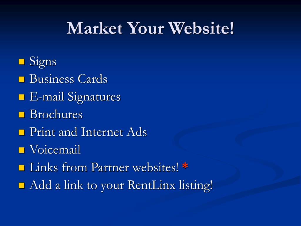 Market Your Website!