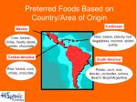preferred foods based on country area of origin