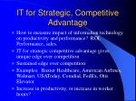 it for strategic competitive advantage