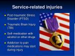 service related injuries