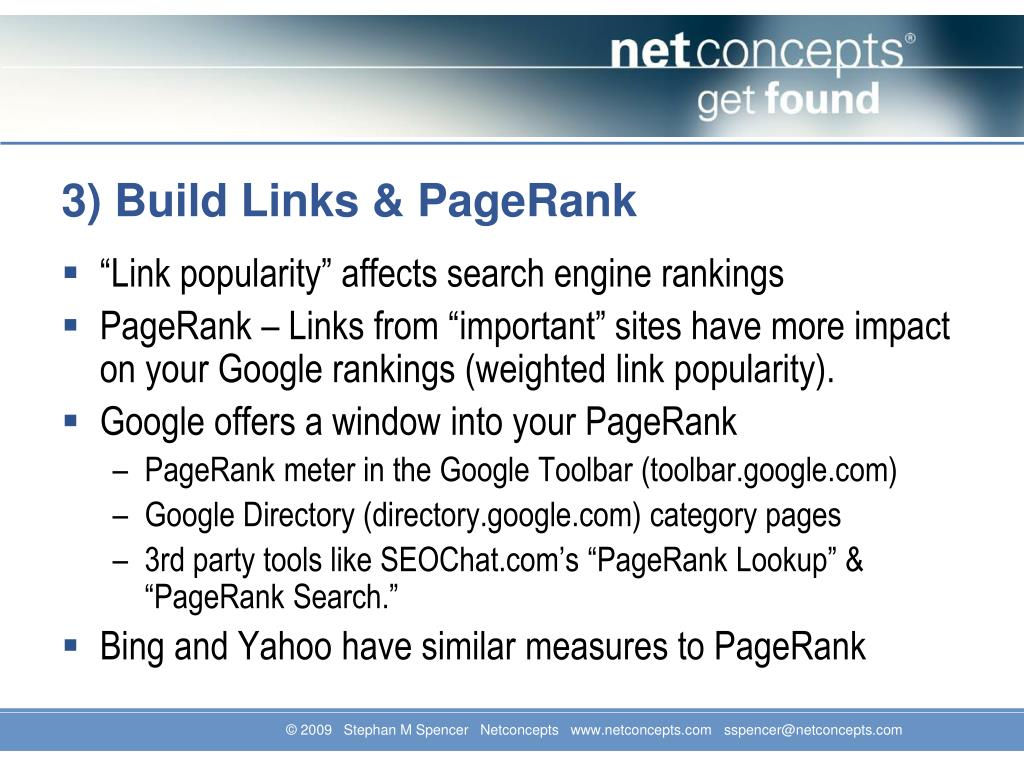 3) Build Links & PageRank