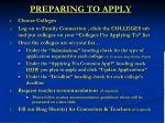 preparing to apply