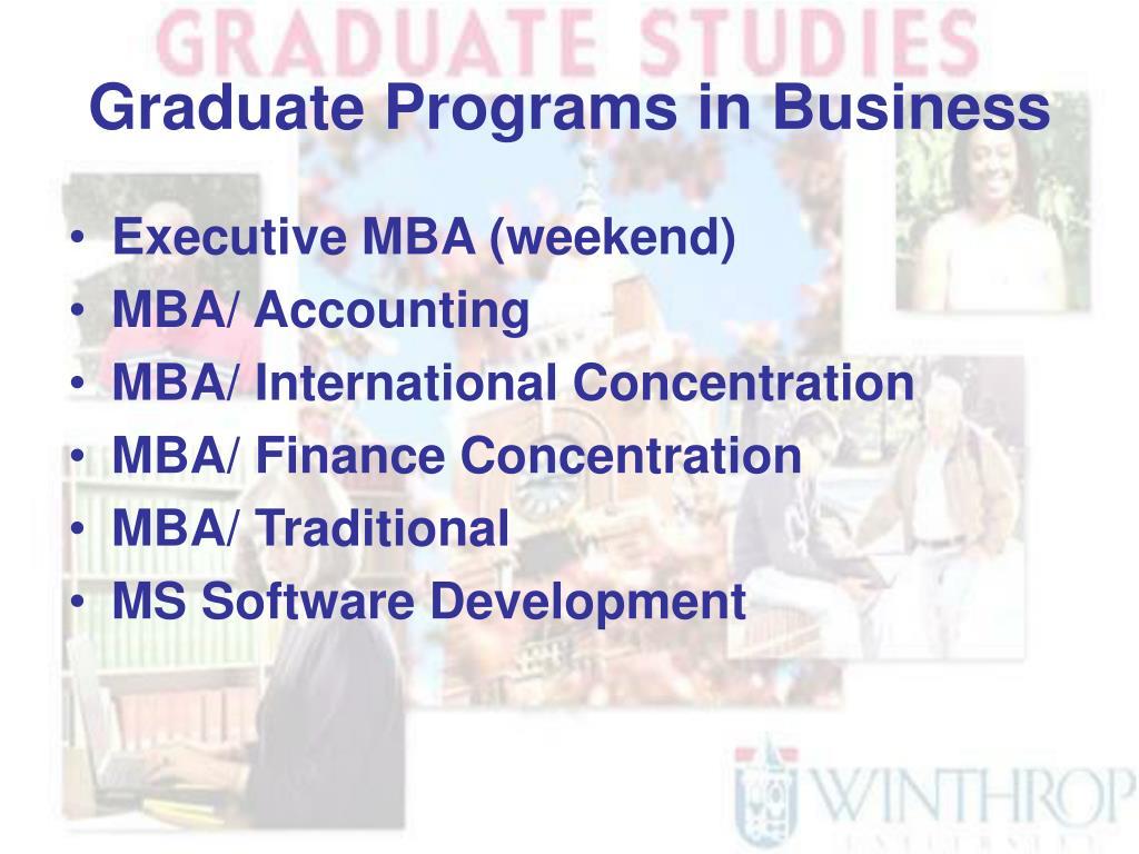 Graduate Programs in Business