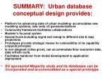 summary urban database conceptual design provides