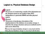 logical vs physical database design