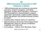 ab him professional involvement in ehr initiatives in alberta