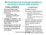 mb challenges and successful strategies in becoming involved in ehr initiatives