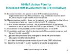 nhima action plan for increased him involvement in ehr initiatives42
