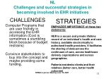 nl challenges and successful strategies in becoming involved in ehr initiatives