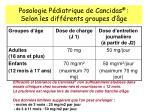 posologie p diatrique de cancidas selon les diff rents groupes d ge