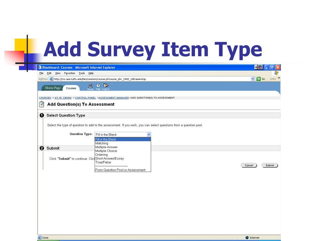 Add Survey Item Type