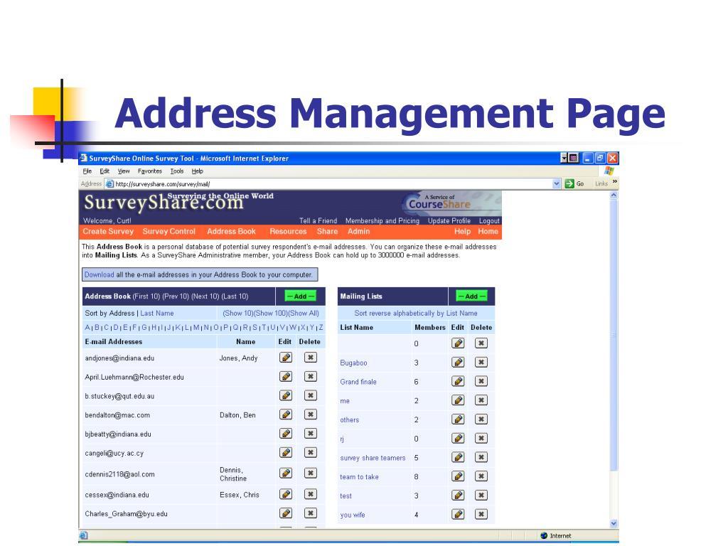 Address Management Page