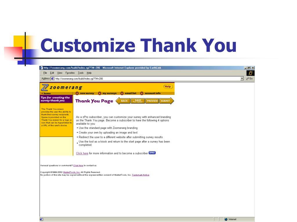 Customize Thank You