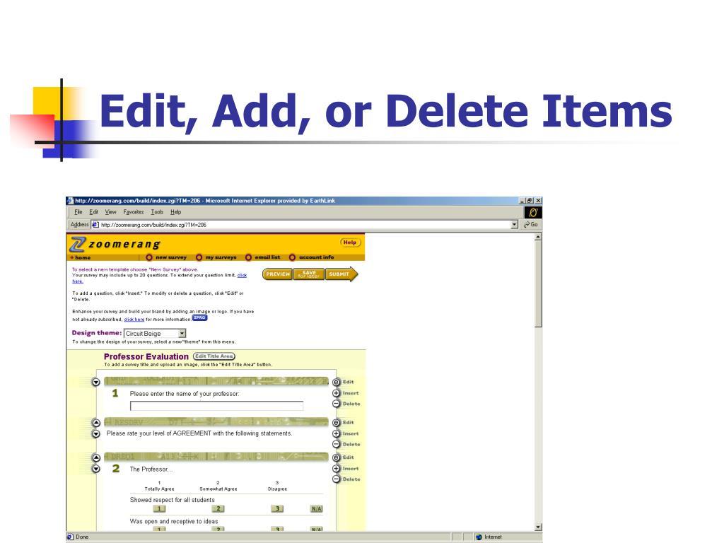 Edit, Add, or Delete Items