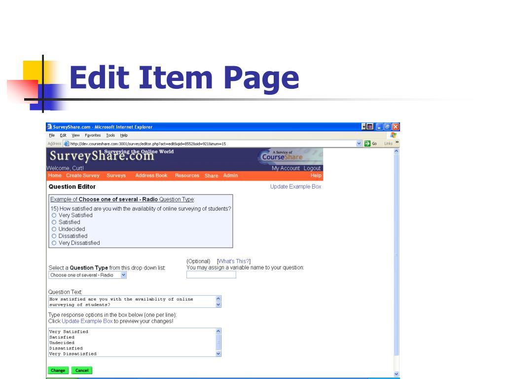 Edit Item Page