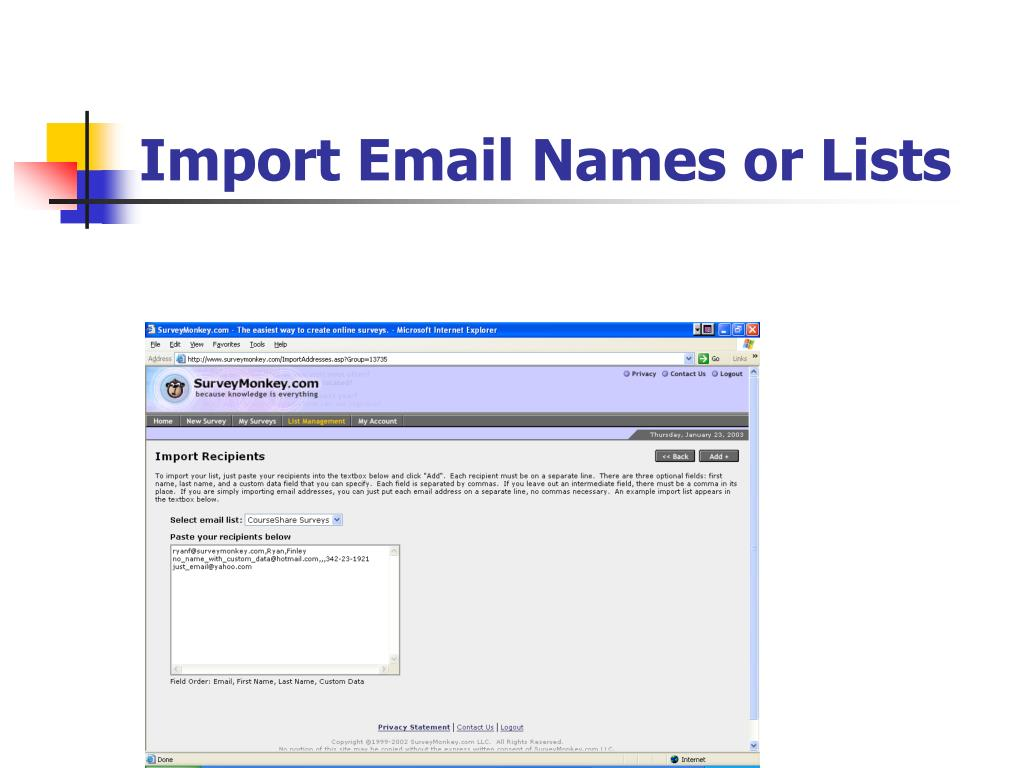 Import Email Names or Lists
