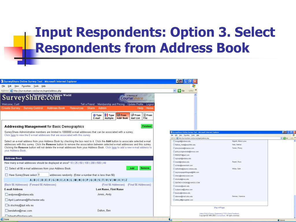 Input Respondents: Option 3. Select Respondents from Address Book