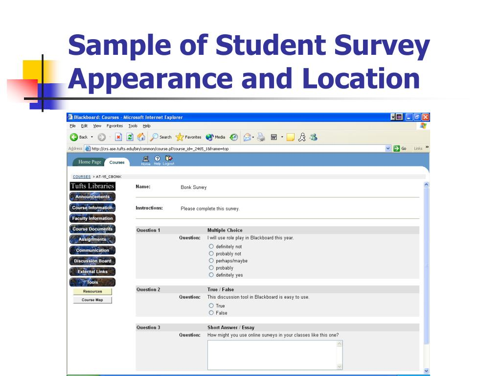Sample of Student Survey Appearance and Location