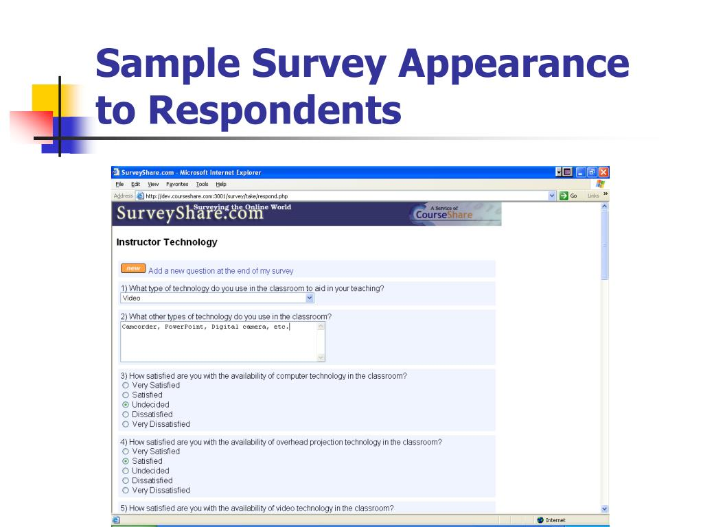 Sample Survey Appearance to Respondents