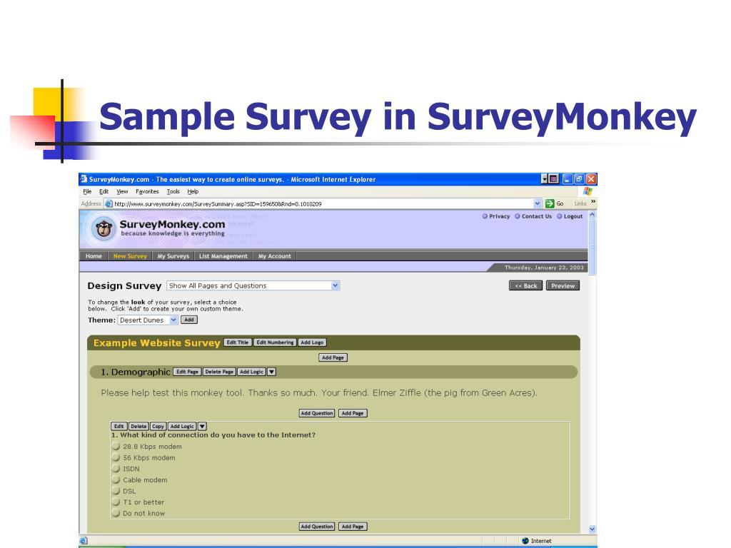 Sample Survey in SurveyMonkey