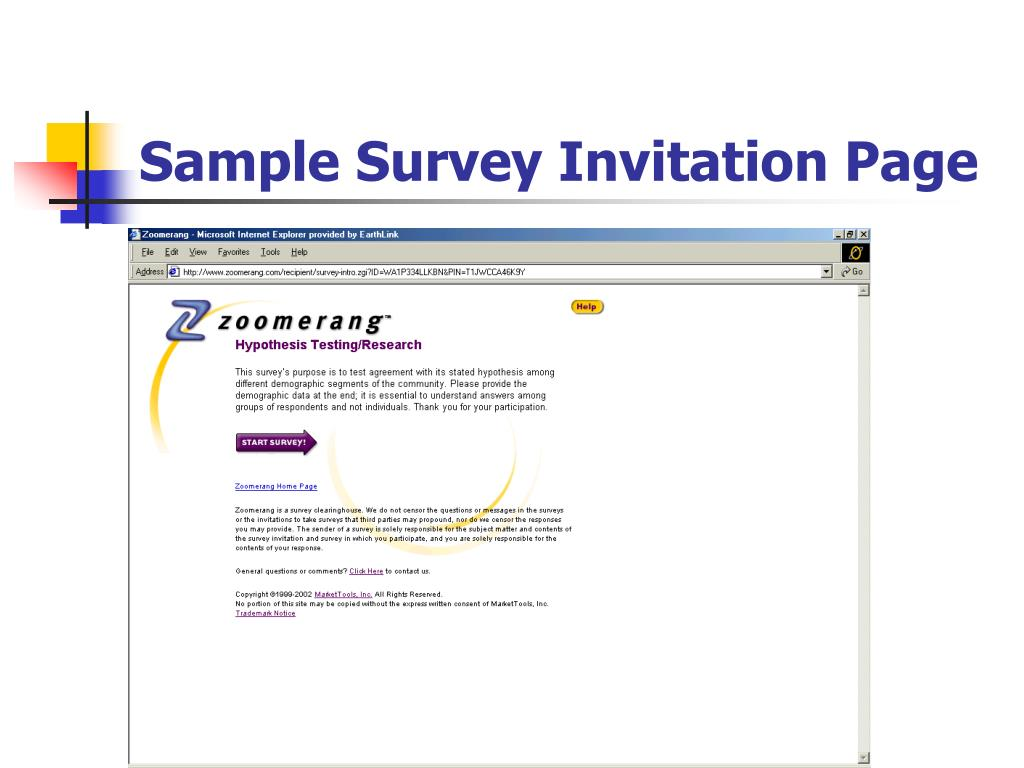 Sample Survey Invitation Page