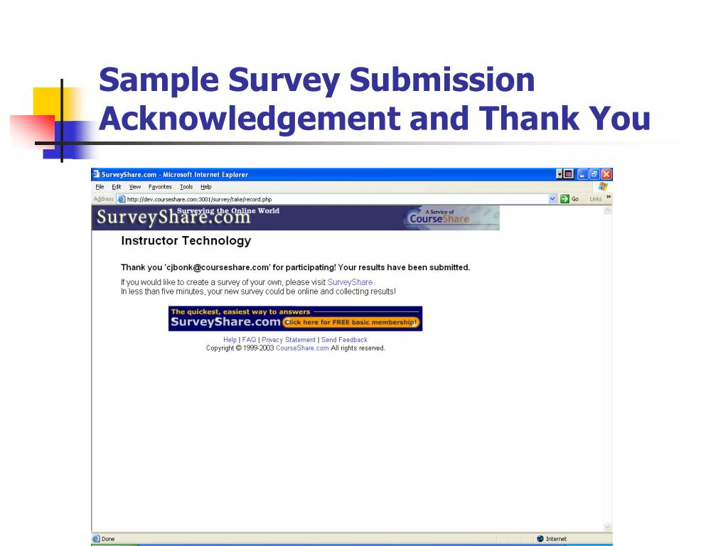 Sample Survey Submission Acknowledgement and Thank You