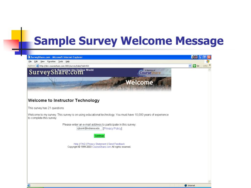 Sample Survey Welcome Message
