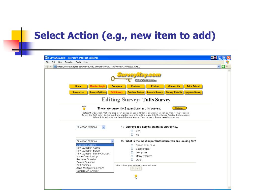 Select Action (e.g., new item to add)