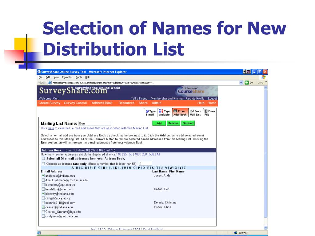 Selection of Names for New Distribution List