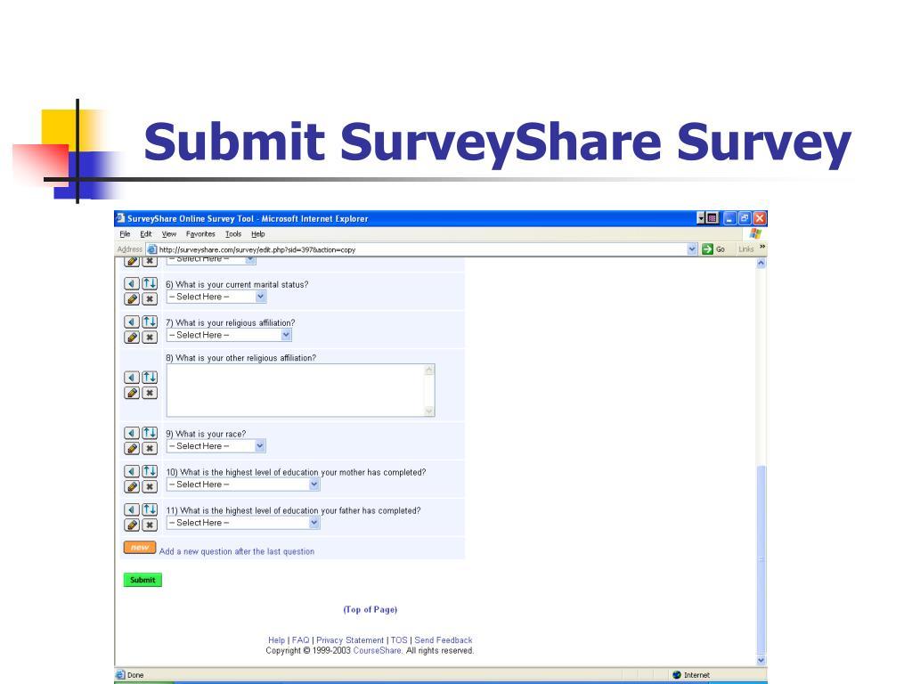 Submit SurveyShare Survey