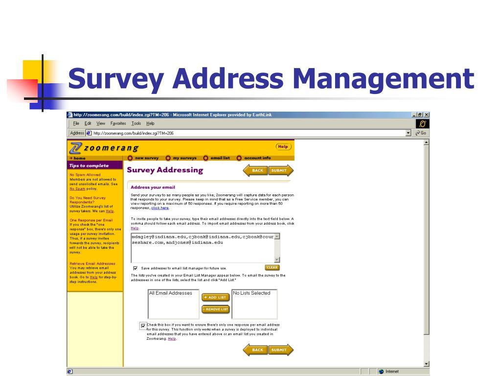 Survey Address Management