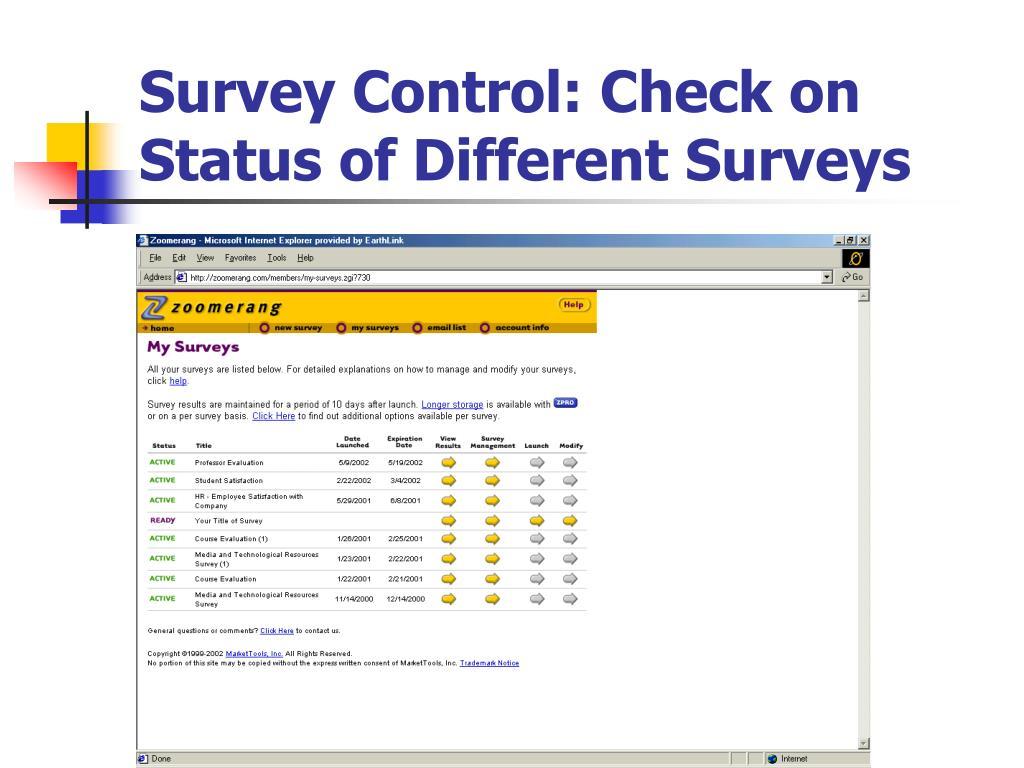 Survey Control: Check on Status of Different Surveys