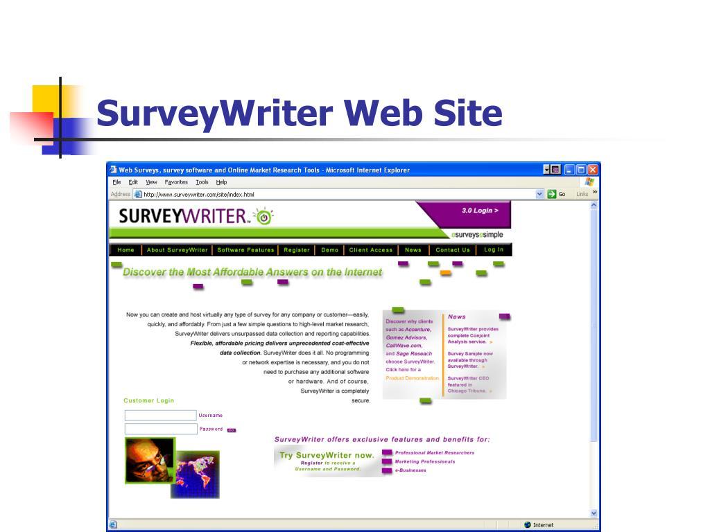 SurveyWriter Web Site
