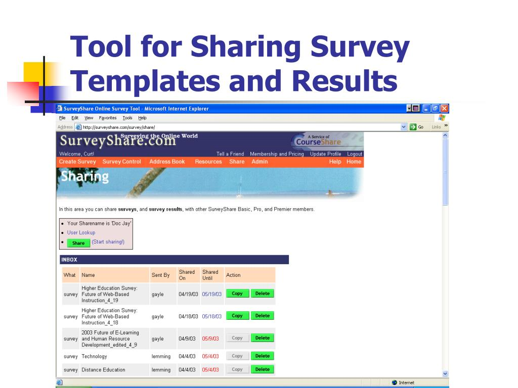 Tool for Sharing Survey Templates and Results