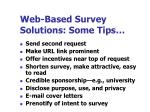 web based survey solutions some tips