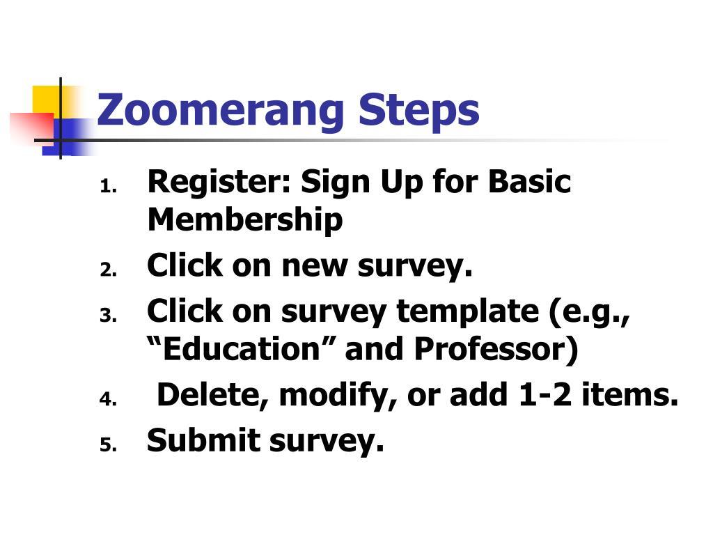 Zoomerang Steps