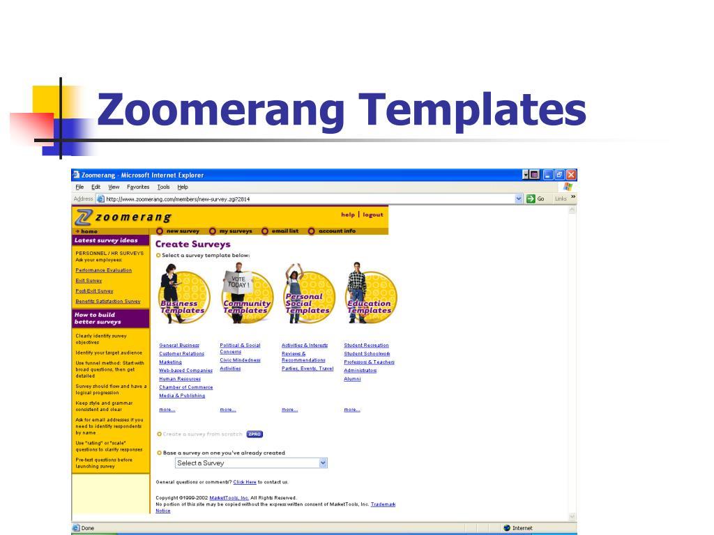 Zoomerang Templates