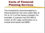 costs of financial planning services