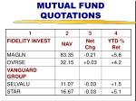 mutual fund quotations