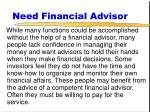 need financial advisor