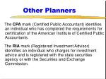 other planners
