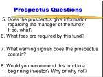 prospectus questions