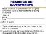 readings on investments