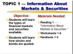 topic 1 information about markets securities